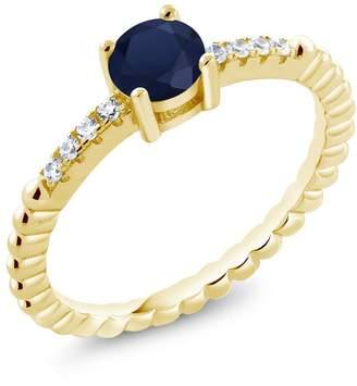 Swarovski Gem Stone King 0.68Ct Blue Sapphire White Zirconia 18K Yellow Gold Plated Silver Ring