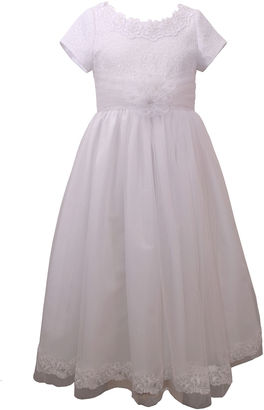 Bonnie Jean Short Sleeve Embroidered Bodice Communion Dress - Girls 7-12 $120 thestylecure.com
