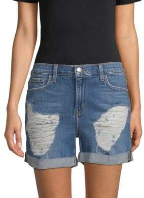 L'Agence Balboa Distressed Rolled Denim Shorts