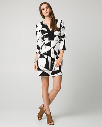 Le Château Geo Print Knit Crepe Tunic Dress