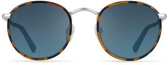 Raen Mason Unisex Round Sunglasses - Rootbeer + Silver / Blue