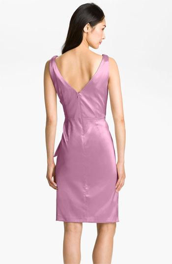Maggy London Side Bow Stretch Satin Sheath Dress
