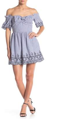 J.o.a. Gingham Embroidered Off-the-Shoulder Dress