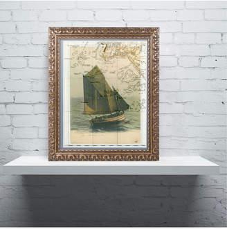 Trademark Global Nick Bantock 'Jersey Sailboat' Ornate Framed Art