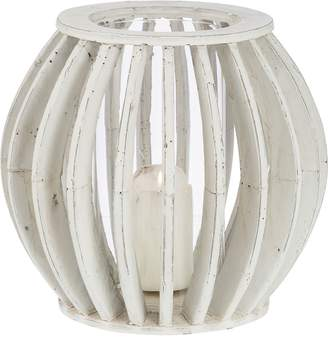 Casa Uno Ball Cement/Glass Candle Holder, White
