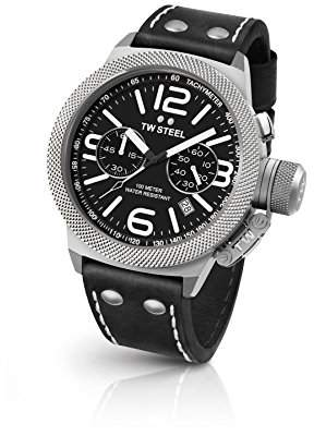 TW Steel Canteen Leather Quartz Watch with Black Dial Chronograph Display and Black Leather Strap CS3