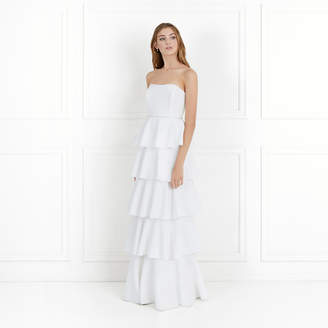 Rachel Zoe Olympia Tiered Stretch-Crepe Strapless Gown
