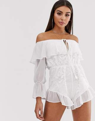 Bardot Lasula playsuit with full sleeve and lace overlay in white