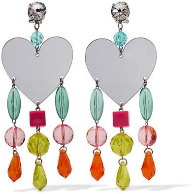 Miu MiuMiu Miu - Silver-tone, Plexiglas And Crystal Clip Earrings - Pink