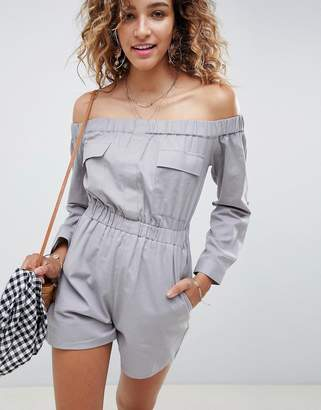 Asos Design DESIGN Off Shoulder Boiler Playsuit In Linen Look