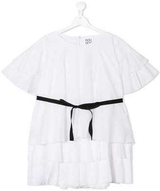 Douuod Kids TEEN layered frill blouse