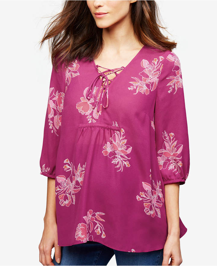 A Pea In The Pod A Pea In The Pod Maternity Printed Blouse