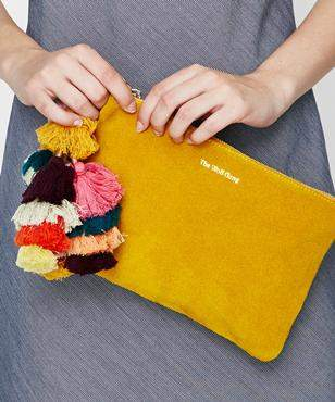 The Wolfgang Bedouin Clutch Marigold Suede