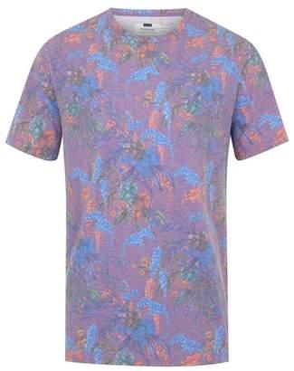 Topman Mens Purple Floral Oversized T-Shirt