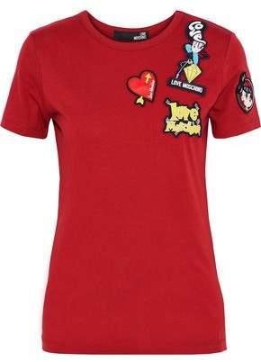 Love Moschino Appliquéd Cotton-Jersey T-Shirt