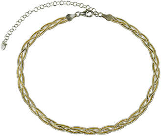 Argentovivo 18K Over Silver Braided Herring Bone Choker Necklace
