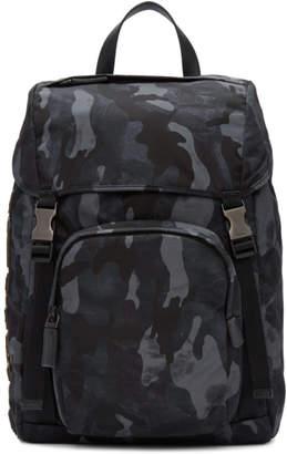 Prada Blue Camouflage Character Backpack