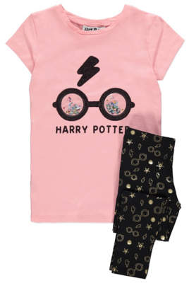 George Harry Potter Sequin Slogan T-Shirt and Leggings Outfit