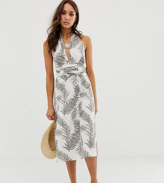 Asos Tall DESIGN Tall wrap front halter midi sundress in tropical print
