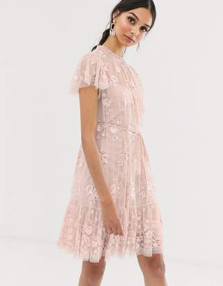 Needle & Thread floral midi dress in rose pink