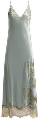 Carine Gilson Lace Trimmed Satin Nightdress - Womens - Light Blue