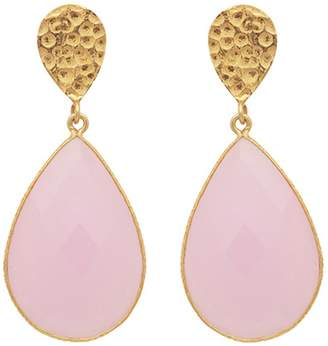 Carousel Jewels - Double Drop Rose Quartz & Golden Nugget Earrings