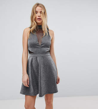 New Look Mesh Insert Metallic Skater Dress