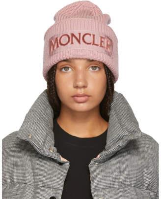 Moncler Pink Logo Beanie