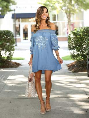 Goodnight Macaroon 'Henna' Chambray Embroidered Dress by MUMU and Macaroons