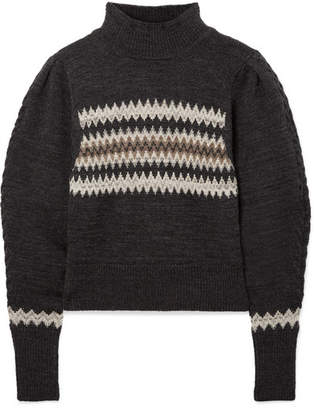 Isabel Marant Demie Cropped Intarsia Wool-blend Sweater - Charcoal