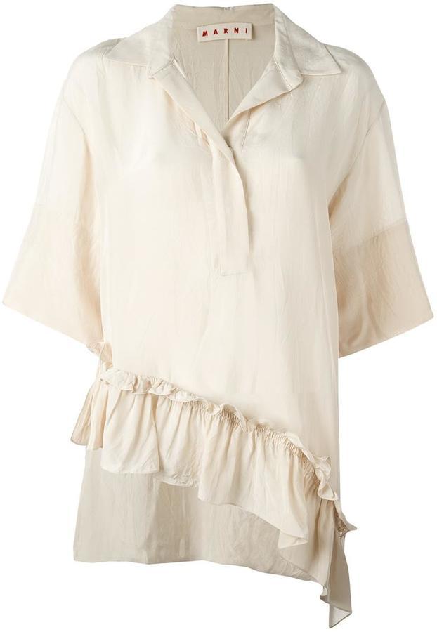 MarniMarni asymmetric ruffle blouse