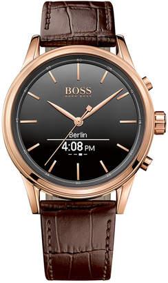 BOSS Hugo Men's Smart Classic Brown Leather Strap Smart Watch 44mm 1513451