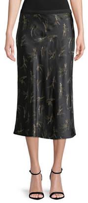 Vince Floral Silk Skirt