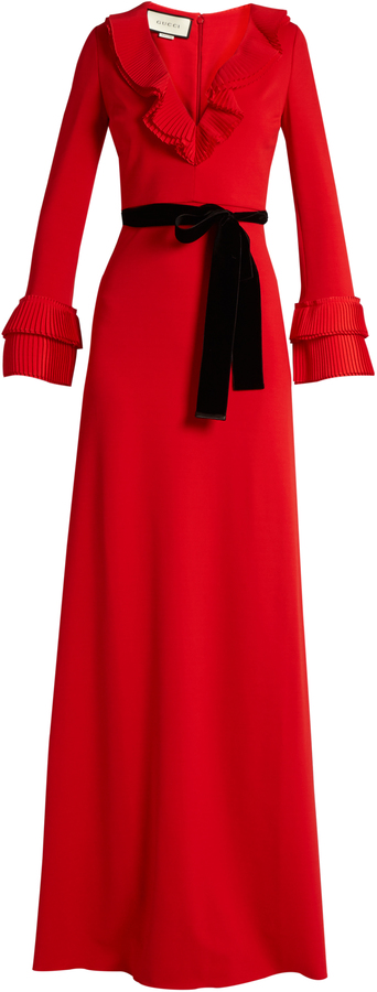 GucciGUCCI Frill-trimmed jersey gown