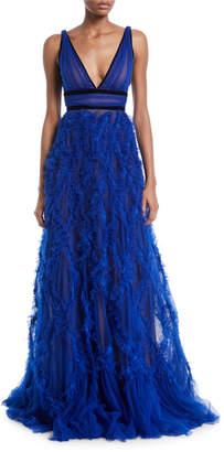 Marchesa Lattice Textured & Velvet Trim Gown