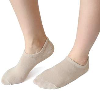 Unique Bargains 1 Pair Ladies Skin Color Moisturizing Soften Low Cut Silicone Heel Boat Loafer Socks