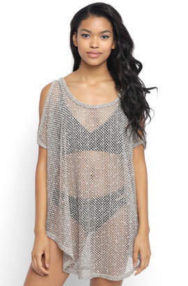 South Moon Under Cold Shoulder Sheer Tunic Cover Up