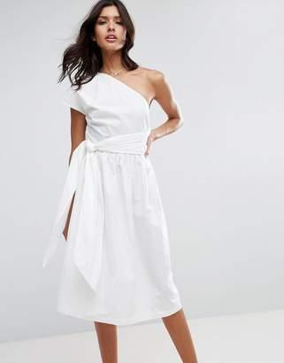 ASOS One Shoulder Cotton Midi Dress $60 thestylecure.com