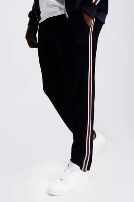 boohoo Big & Tall Velour Joggers With Side Tape