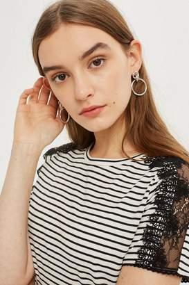 Topshop Lace Trim Striped T-Shirt