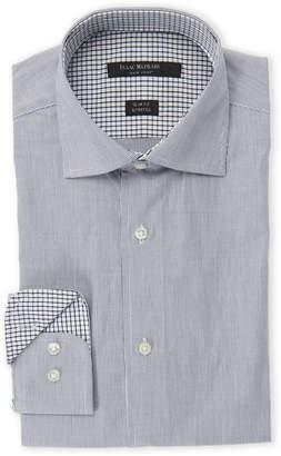 Isaac Mizrahi White & Black Fine Rope Striped Slim Fit Stretch Dress Shirt