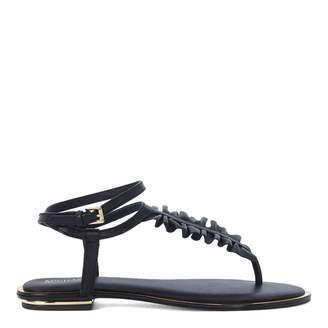 Black Leather Bella Ruffle Sandals