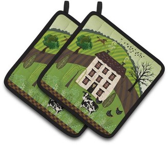 Caroline's Treasures Folk Art Country House Pair of Pot Holders