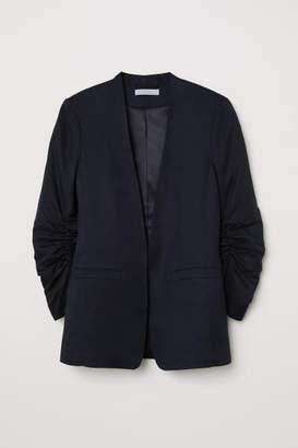 H&M Linen-blend Jacket - Black