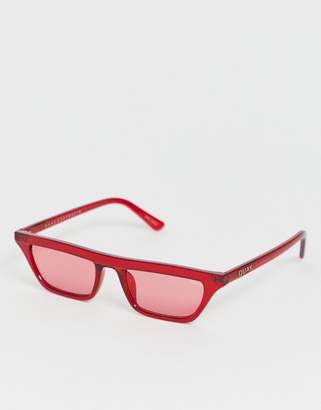Quay finesse flat top sunglasses in red
