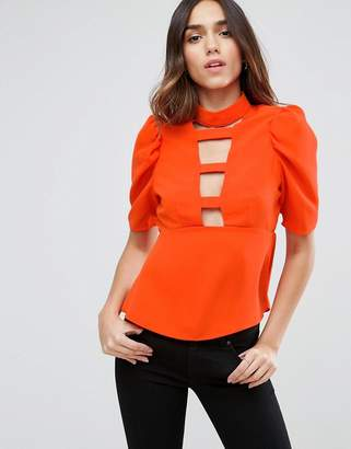 Asos DESIGN Ladder Plunge Front Blouse with 80s Sleeve