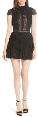 Alice + Olivia Rosetta Pleat Tiered Minidress