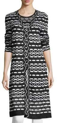 St. John Textural Wave-Knit Maxi Cardigan