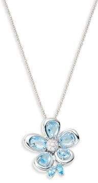 Roberto Coin 18K White Gold, Diamond & Blue Topaz Floral Pendant Necklace