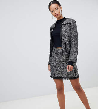 Fashion Union Tall tall tweed skirt in frayed details